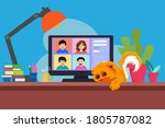 video online conference. video...   Shutterstock .eps vector #1805787082