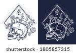 human skull through which... | Shutterstock .eps vector #1805857315