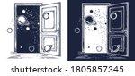 open door in universe tattoo.... | Shutterstock .eps vector #1805857345