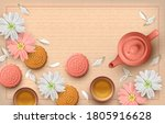floral tea party card with... | Shutterstock . vector #1805916628