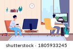gamers at room. couple play... | Shutterstock .eps vector #1805933245