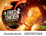 delicious fried chicken in 3d... | Shutterstock .eps vector #1805987068