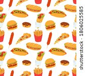 seamless pattern with street... | Shutterstock .eps vector #1806025585