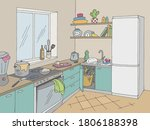 kitchen mess room graphic color ...   Shutterstock .eps vector #1806188398