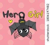 cute bat cartoon on polka dots... | Shutterstock .eps vector #1806197482