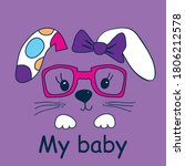 cute bunny face with glasses...   Shutterstock .eps vector #1806212578