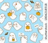 seamless pattern with cute... | Shutterstock .eps vector #1806218518