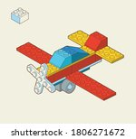 airplane made by blocks. toy... | Shutterstock .eps vector #1806271672