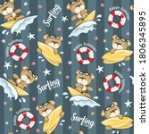 Seamless Pattern Cute Bear...