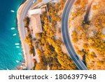 Aerial View Of Road  Boats And...