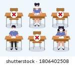 social distancing at school...   Shutterstock .eps vector #1806402508