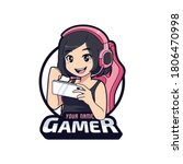 cute gamer with excited face ... | Shutterstock .eps vector #1806470998
