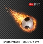 soccer ball with fire tongues ... | Shutterstock .eps vector #1806475195