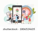 childbearing woman using mobile ... | Shutterstock .eps vector #1806524635