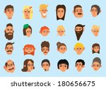 faces icon set   flat design  ...   Shutterstock .eps vector #180656675
