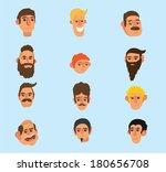 faces icon set   flat design  ... | Shutterstock .eps vector #180656708