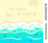 the beach is calling quote with ... | Shutterstock .eps vector #1806568078