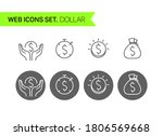 dollars thin line icons vector... | Shutterstock .eps vector #1806569668
