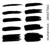 set of hand drawn grunge brush... | Shutterstock . vector #180657062