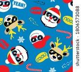 cool santa   snowman and deer... | Shutterstock .eps vector #1806573088