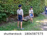 Scouts Hold A Sanitary...