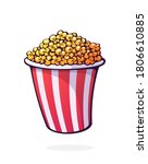 bucket full of popcorn. red and ... | Shutterstock .eps vector #1806610885
