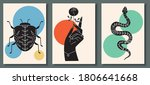 abstract poster collection with ... | Shutterstock .eps vector #1806641668