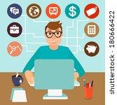 vector self employed man in... | Shutterstock .eps vector #180666422