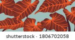 luxury leaf art deco wallpaper. ... | Shutterstock .eps vector #1806702058