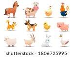 Set Of Farm Animals On A White...