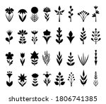 set of silhouettes of flowers...   Shutterstock .eps vector #1806741385