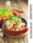 Small photo of Fricassee of chicken with vegetables in the pot
