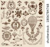 vector. set of retro elements ... | Shutterstock .eps vector #1806784768