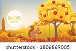 autumn forest. squirrel eating... | Shutterstock .eps vector #1806869005