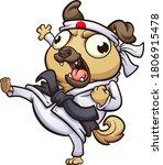 cartoon fat pug dog throwing a... | Shutterstock .eps vector #1806915478