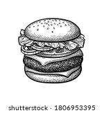 hamburger. ink sketch isolated... | Shutterstock .eps vector #1806953395