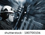 industrial engineer set against ... | Shutterstock . vector #180700106