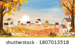 Autumn Landscape At Village By...