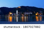 Cityscape of Durnstein in Wachau valley in Austria as seen from the other side of river Danube during blue hour