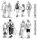 people walking | Shutterstock . vector #180702902