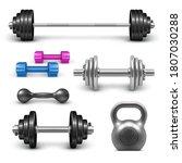 barbell  dumbbells and... | Shutterstock .eps vector #1807030288