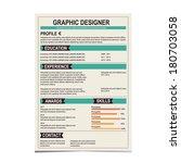 resume template. cv creative... | Shutterstock .eps vector #180703058