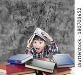 child against the rain of... | Shutterstock . vector #180703652