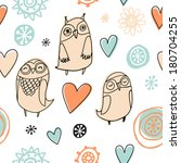 owls and flowers pattern | Shutterstock .eps vector #180704255