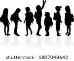silhouettes of a children with... | Shutterstock . vector #1807048642