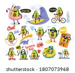 funny cute avocado large set... | Shutterstock .eps vector #1807073968