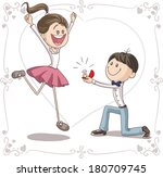 marriage proposal vector... | Shutterstock .eps vector #180709745