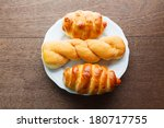 bread roll and bread sausage on ... | Shutterstock . vector #180717755