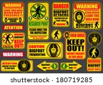 Stock vector bigfoot signs collection 180719285