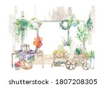 Flower Shop With Colorful...